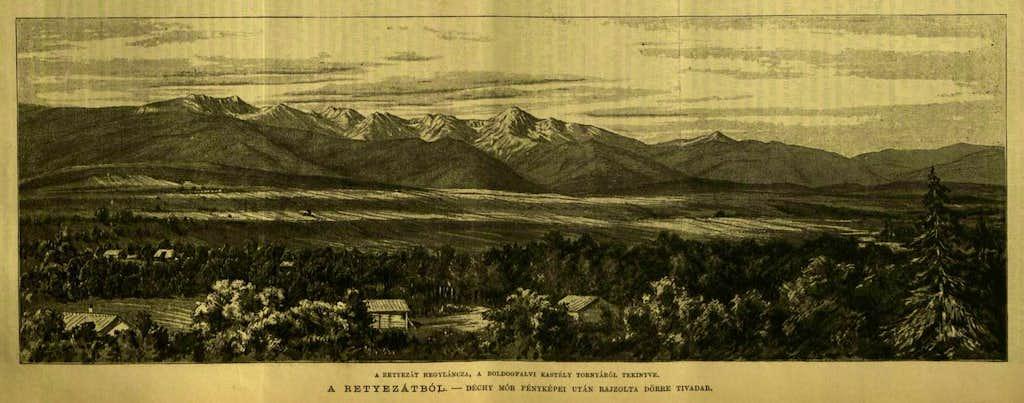Vintage panorama of Retezat