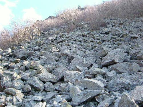 Looking up the boulder field descending Hawksbill