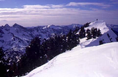 On the summit ridge of Guye...