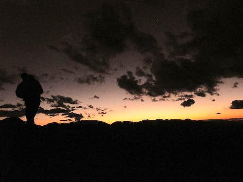 On the ridge at the sunset