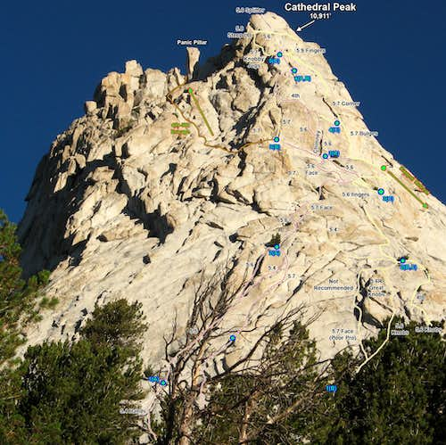 More SE Buttress Route Variations (Photo Topo)