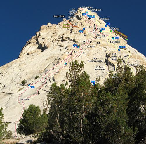 Even More SE Buttress Route Variations (Photo Topo)