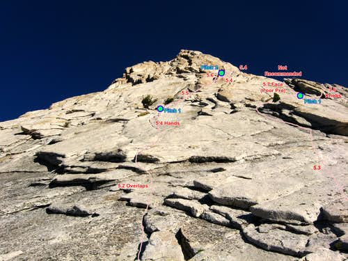 SE Buttress Route Variations from the Base(Photo Topo)