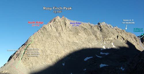 Rosy Finch N Ridge & W Ridge (Photo Topo)