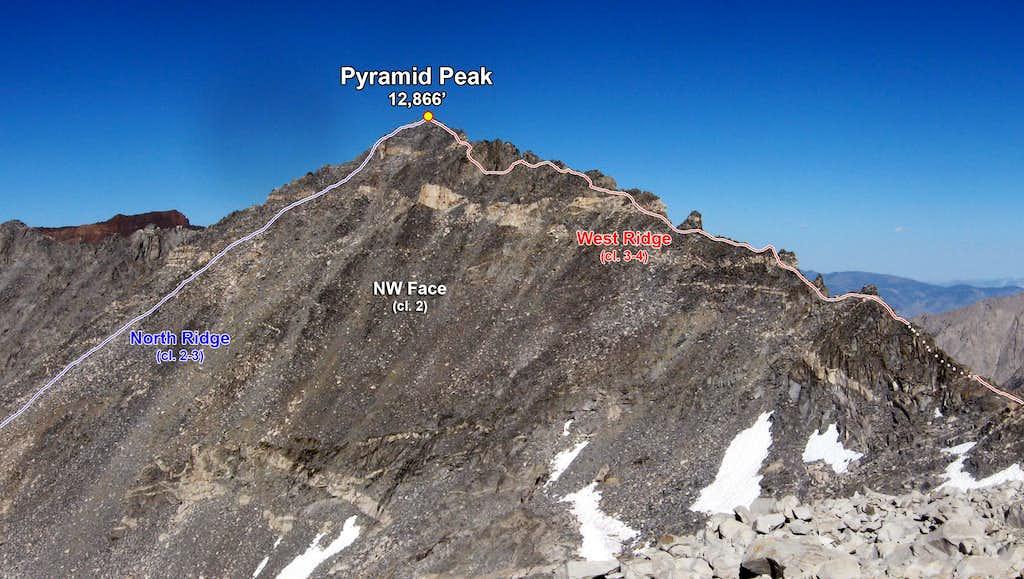 Pyramid Peak's Various Routes (Photo Topo)