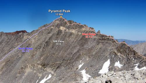 Pyramid Peak\'s Various Routes (Photo Topo)