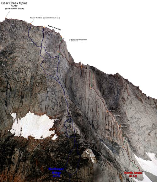 Bear Creek Spire N & NE Ridge from the side, nearly level with route top (Supercomposite) (Photo Topo)