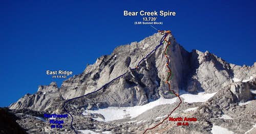 Bear Creek Spire N & NE Ridge North Arete head on, and far below the route (Photo Topo)