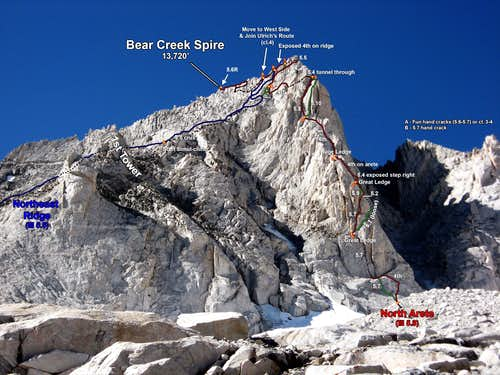 Bear Creek Spire N & NE Ridge from 3/4 perspective somewhat below route base (Photo Topo)