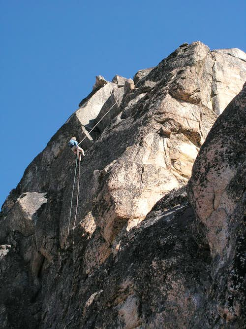 Rappelling off summit