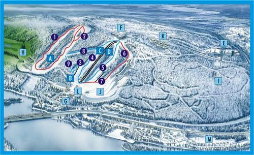 Map of Ounasvaara hill + ski...