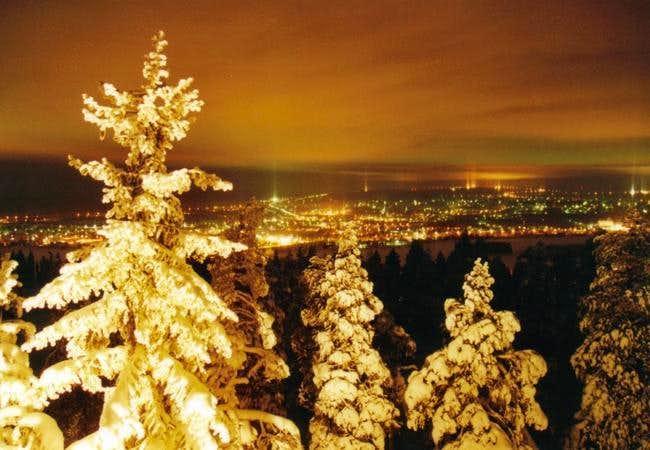 Nightview at Rovaniemi from top of Ounasvaara