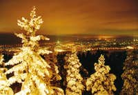 Nightview at Rovaniemi from top of Ounasvaara