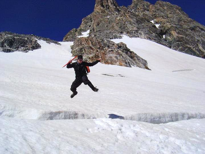 Anders Jumps Crevasse