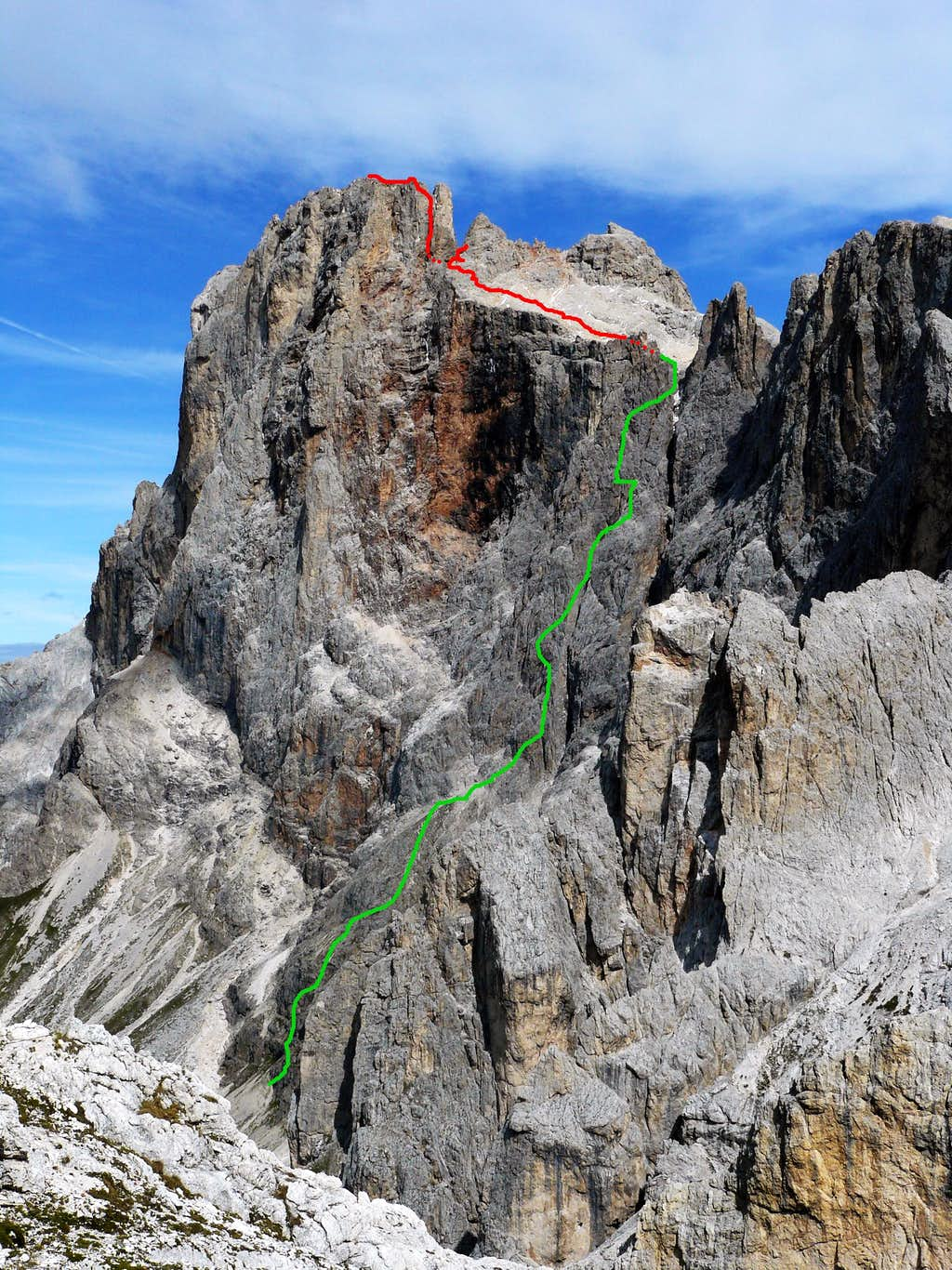 The ferrata and the normal route.