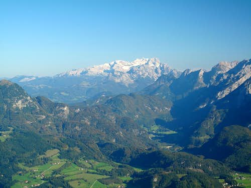 The Dachstein and the Tennengau seen from the Rossfeld in the Berchtesgaden Alps