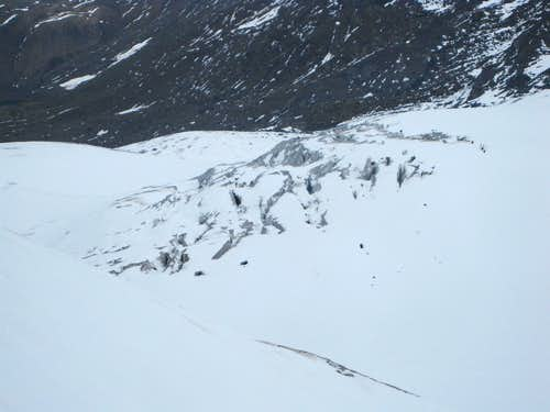 Looking down on lots of crevasses