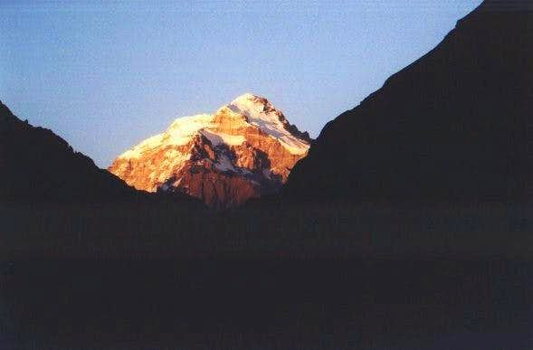 Aconcagua at sunset on the...