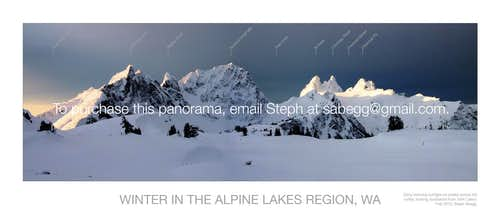 Alpine Lakes Region in Winter, Labeled Pano (version 2)