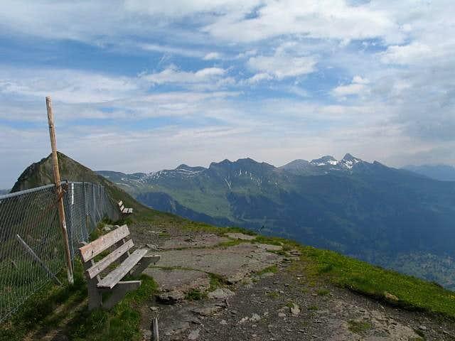 Bench on the summit of Lauberhorn