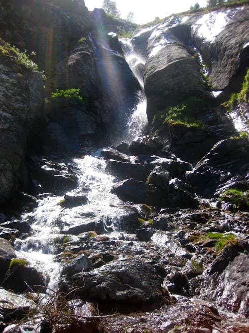 Waterfall high in Valle di Sulda