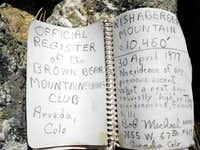 Summit Register, Rishaberger Mountain