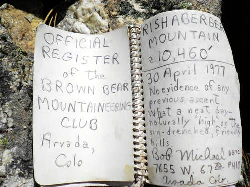 Summit Register, Rishaberger Mountain