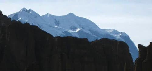 Illimani over the rim of Palca Canyon