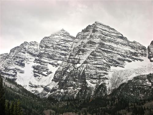 Close up of the Maroon Bells