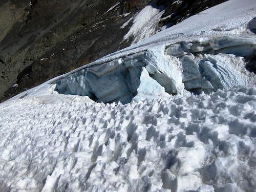 Low on the glacier on Pequeño Alpamayo