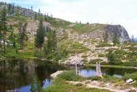 Heart Lake with the ridge...