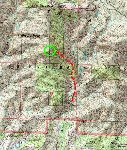 Topo map of the route