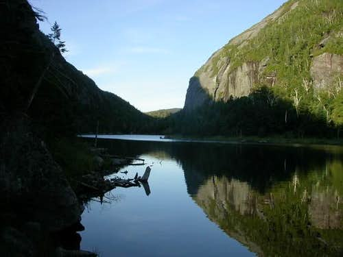 Avalanche Lake at the base of...