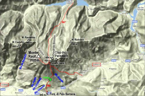 Monte Raut and its marked paths