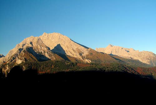 Watzmann and Hochkalter early in the morning in October