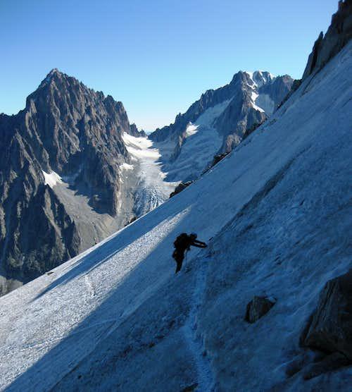 Traversing the glacier below Petite Aiguille Verte