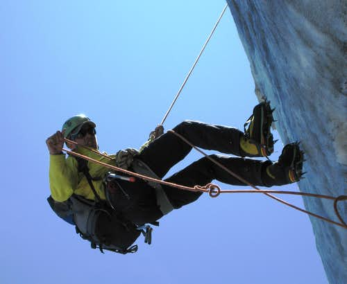 Rappelling from Petite Aiguille Verte