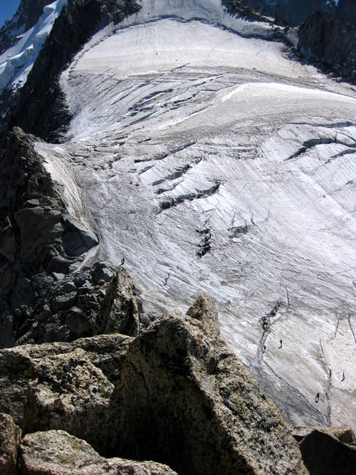 The glacier at the base of Petite Aiguille Verte