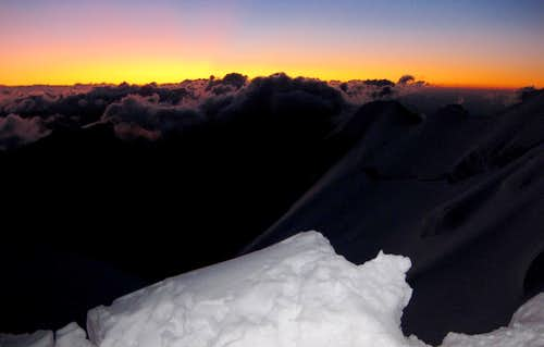 First light on the ascent of Mont Blanc