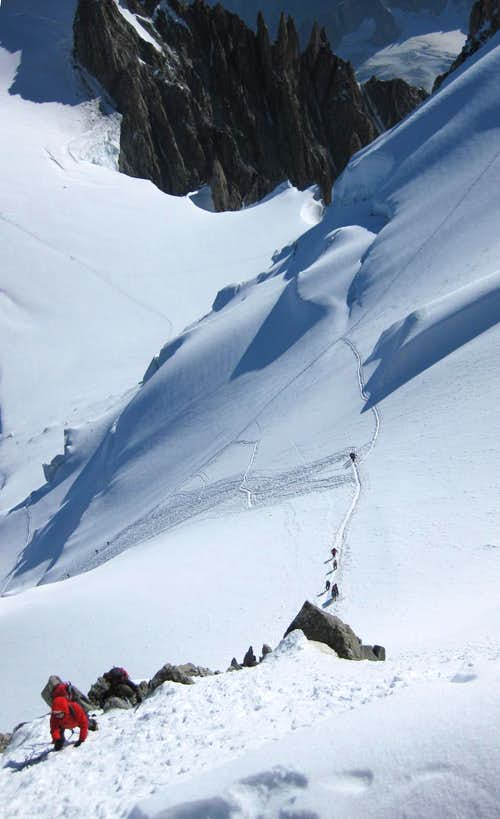 A steep section on northern slopes of Mont Blanc
