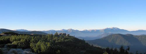 Autumn panorama of Rodnei Mountains