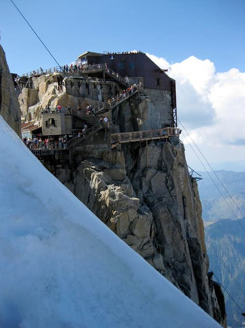 Tourists on the Aiguille du Midi