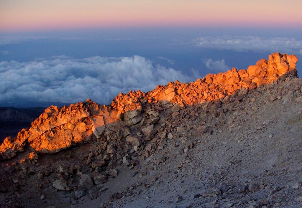 First light on the crater rim