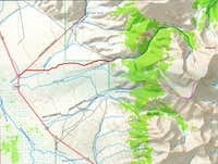 North Face of Mt Borah Approach Map