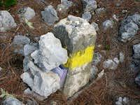 Summit marker on Peak La Selle