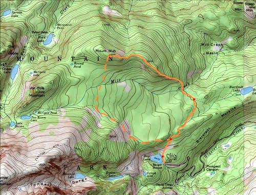 Route Map-East Ridge