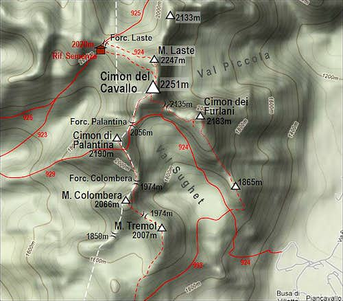 Cimon del cavallo and its marked paths