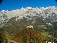 Hohenwerfen castle with the coulisse of the Tennengebirge range behind
