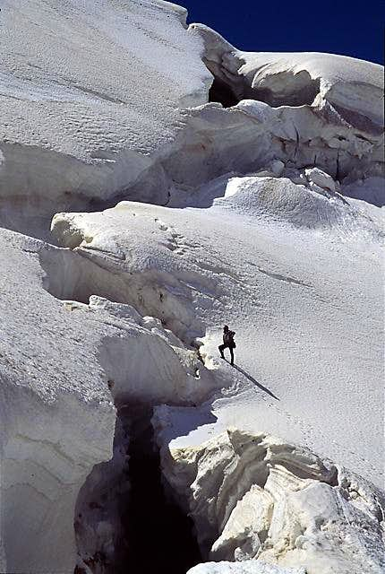 A climber looking for the...