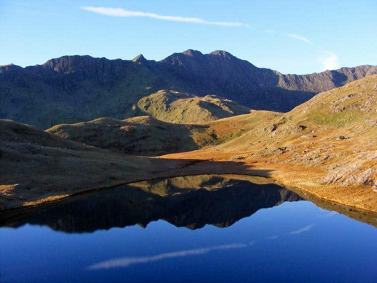 Y Lliwedd reflected in Llyn Teryn